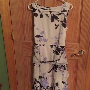 White black and purple dress